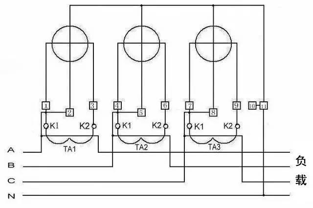 三相四线电度表互感器接线